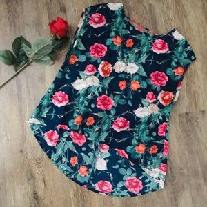 2/$20 Pretty Semi-Sheer Floral Hi-Low Blouse!